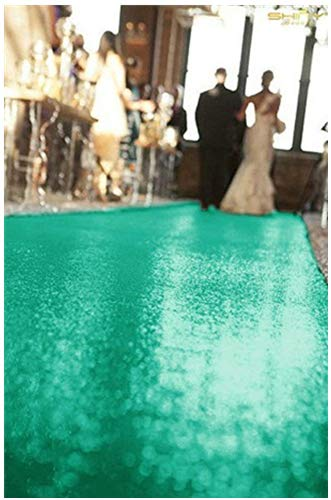 ShinyBeauty 4FTx30FT Wedding Carpet Aisle Runner Green Glitter Runners for Church Wedding Walkway