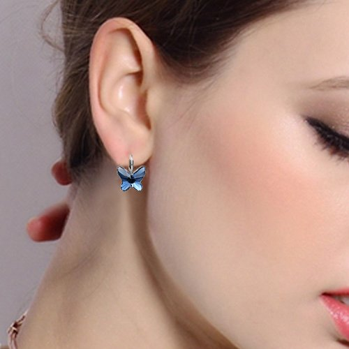 EleQueen 925 Sterling Silver Butterfly Love Hoop Huggie Stud Earrings Earrings Made with Swarovski Crystals