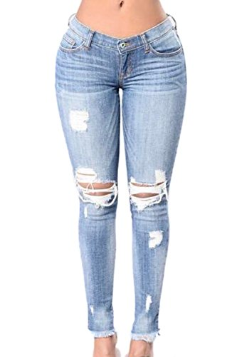 Lettre d'amour Women Ripped Hole Distressed Stretchable Skinny Jeans Leggings Long Pants