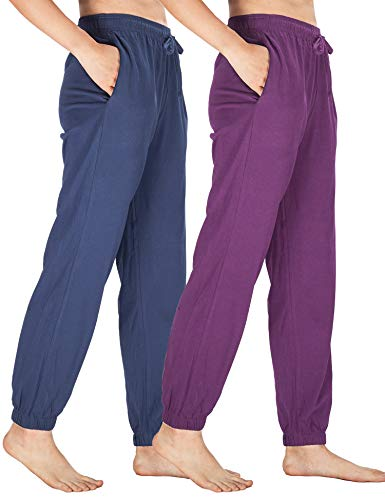 (WEWINK CUKOO Womens Pajama Pants Cotton Sleep Pants Stretch Knit Lounge Pants with Pockets (S=US 4-6, Navy+ Purple/Jogging-Legged))