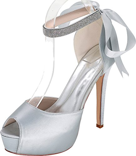 Ladies Work Wedding Comfort Ribbon Pumps Satin 3128 Party 37 Eu Prom Rhinestone Bride 08e Platform Silver Toe Dress Ankle Bridesmaid Strap Peep vB4w5x