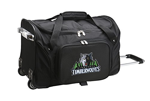 NBA Minnesota Timberwolves Wheeled Duffle Bag, 22 x 12 x 5.5'', Black by Denco