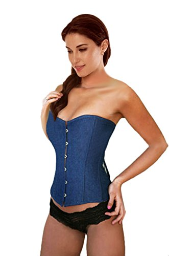 Top Tube Denim (Sue Shop Sexy Cool Waist Training Denim Jean Overbust Corset Corset/Bustier,XXL)