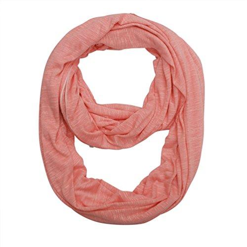Women Soft Pocket Infinity Scarf - Pink Zipper Jersey Spring New Fashion Lightweight Thin Light Ideal Gift (008) (Scarf Pocket)