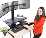 Stand Steady Techtonic Electric 3 Arm Monitor Mount Standing Desk | Large Spacious Stand Up Desk | Easy Sit to Stand with The Push of a Button - Quiet! | 3 Levels to Maximize Your Space!