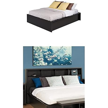Prepac District King Bed And Headboard Washed Black