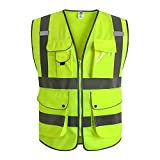 JKSafety 9 Pockets Class 2 High Visibility Zipper Front Safety Vest With Reflective Strips, Yellow Meets ANSI/ISEA Standards (4X-Large) …