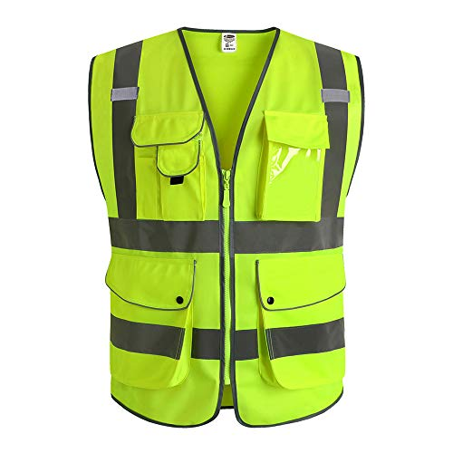 JKSafety 9 Pockets Class 2 High Visibility Zipper Front Safety Vest With Reflective Strips, Yellow Meets ANSI/ISEA Standards (3X-Large)