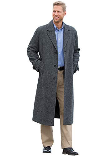 (KingSize Men's Big & Tall Wool-Blend Long Overcoat, Charcoal Herringbone Big-3XL)