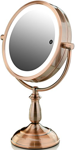 Ovente Dual-Sided Lighted Makeup Mirror with Timer, 8.5 Inch, Battery or Cord Operated, SmartTouch with 3 Light Tones (Cool, Warm, Natural Daylight) 1x/10x Magnification, Antique Copper (MPT85CO1x10x)