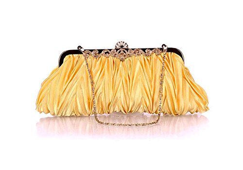 Womens Clutch Yonger Satin Evening Party Vintage Golden Cocktail Handbag Sdqpad