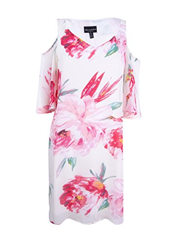 - Connected Apparel Womens Chiffon Floral Print Casual Dress Ivory 8