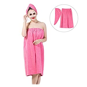 Women's Bath Wrap Set, Adjustable Bathing Bathrobe and Hair Drying Cap Spa Strapless Shower Towel Kits, 35.4 inch/90cm Length (Rose Red)