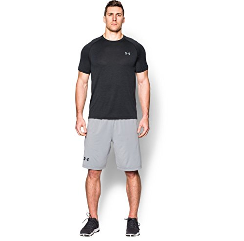 Under Armour Men's Tech S/S T-Shirt Black / Steel XL & HDO Workout Visor Bundle