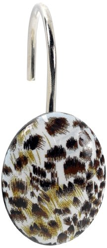 Carnation Home Fashions PHPA-Che/M Cheetah Resin Shower Curtain Hooks, Multicolor (Cheetah Bathroom Curtains)