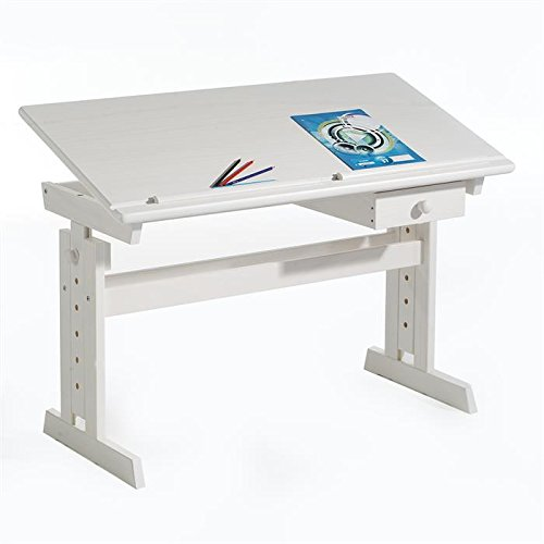 IDIMEX Bureau enfant écolier junior FLEXI table à dessin réglable en hauteur et pupitre inclinable avec 1 tiroir en pin massif lasuré blanc