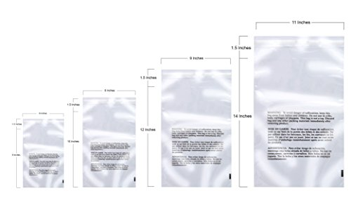 400 Clear Poly Bags Combo Pack with Suffocation Warning - 6x9, 8x10, 9x12, 11x14 - Extra Strong - Bags Clear Poly