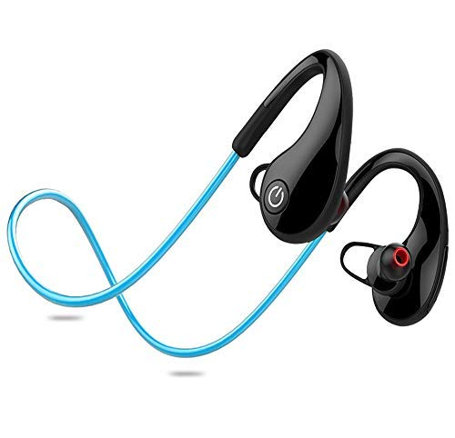 Running Headphones, Waterproof Bluetooth 4.1 with EDR Running on-Ear Headsets, Noise Cancelling and Secure fit for Gym Cycling Workout with Mic for Samsung, iPhone, LG, Sony. (Blue)