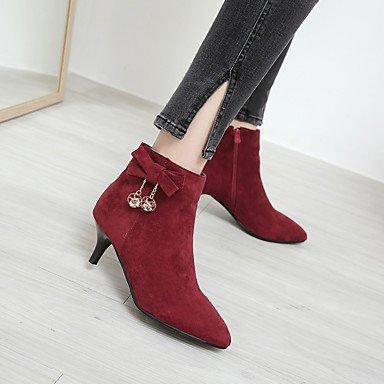 Heart&M Mujer Zapatos Aterciopelado Otoño Invierno Confort Botas Tacón Stiletto Dedo Puntiagudo Pedrería Pajarita Cremallera Para Negro Gris Wine black