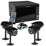 First Alert HS-4700-S Four Wired Security Camera Recording System with 7-Inch LCD and Built-in DVR (Black)
