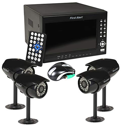 (First Alert HS-4700-S Four Wired Security Camera Recording System with 7-Inch LCD and Built-in DVR (Black))