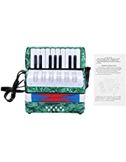 17 Keys 8 Bass Piano Celluloid Accordion, 4 Colors Portable Concertina Accordion with Side Adjustable stra, Mini Accordion Musical Instrument Good for