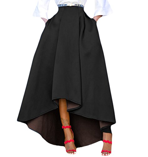 FIYOTE Women High Waisted High Low A-Line Pleated Long Maxi Skirt Large Size Black