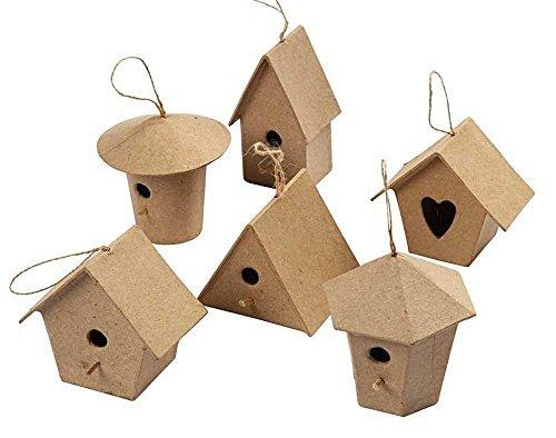 6 Mini Paper Mache Bird House Ornaments   Paper Mache Shapes   Papier Mache