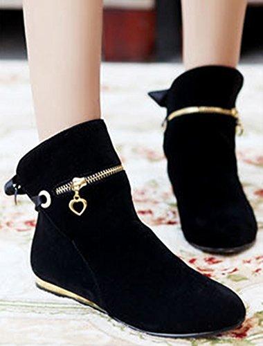 Suede Black Short Boots Women's Flat Dressy Toe Aisun Round Faux qz7UnvwxSt
