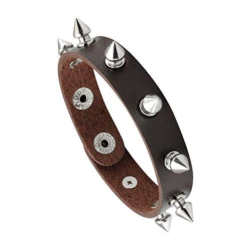 Rivet Leather Bangle - MILAKOO Leather Bracelet Punk Spike Rivet Cuff Bangle Metal Studded Halloween Wristband