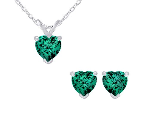 Created Emerald Heart Earrings and Pendant Necklace Set 1.50 Carat (ctw) in Sterling Silver