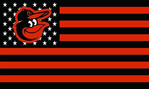 MLB Stars and Stripes 3'x5' Indoor/Outdoor Flag Banner (Baltimore Orioles Orange/Black)