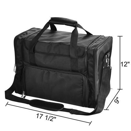 Heavy Duty 17 ½'' L Professional Cosmetic Portable Tote Bag Black Soft 1200D Oxford Makeup Train Case Multi Purpose Storage Slots Drawers Holders Handle Strap Travel