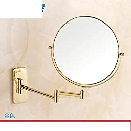 All copper mirror/Bathroom vanity mirror folding retractable/magnifier/Antique-sided beauty mirror-D