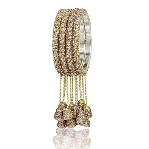 Ratna Designer Indian Bollywood Lac Bangles Bracelets Wedding Latken Bangle Set Pair Jewelry Churi Set (Gold, 2.4) ()