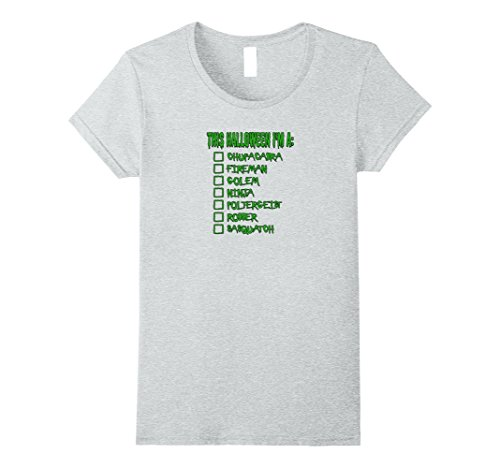 Womens Halloween Checklist Costume Funny Tshirt Tee Large Heather (List Of Halloween Costumes For Women)