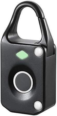 電子ドアロック アンチtheftl電子のスマート指紋南京錠防水スマートセキュリティロックアウトドアトラベルスーツケースバッグロック 電子錠 (Color : Black, Size : One size)
