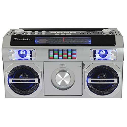 Studebaker SB2145S 80's Retro Street Boombox with FM Radio, CD Player, LED EQ, 10 Watts RMS and AC/DC in Silver by Studebaker (Image #3)