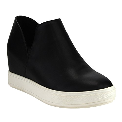 Beston DE08 Women's Wedge Platform Sneaker Hidden Mid Heel Slip On Loafers, Color:BLACK, Size:9
