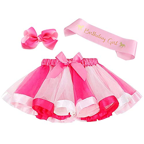 Layered Rainbow Tutu Skirt Costumes Set with Hair Bows Clips and Satin Sash for Girls Birthday Party Dress up (Rose/Pink Rainbow, M,2t~4t) ()