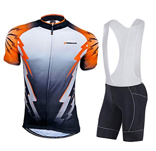 Shirt Bib Pants (sponeed Cycling Bibs Men Bicycle Outfits Kits Bike Jersey Shirt Bib Pants Padded Asia M/US S Orange)