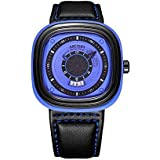 Megir Mens Unique Design Square Dial - Blue