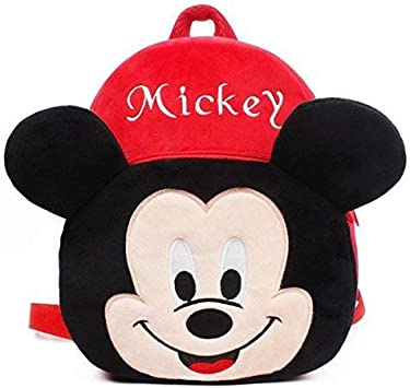 Shivaye Mickey Soft Material School Bag for Kids Plush Backpack, 2 to 6 Years (Red)