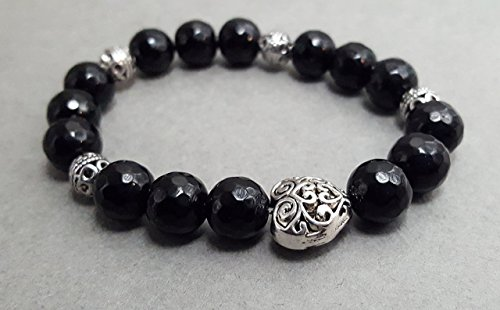 Faceted Black Stretch Bracelet - Faceted Black Onyx Stretch Bracelet with Silver Plated Heart