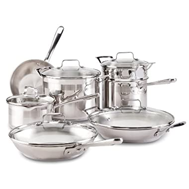Emeril by All-Clad E884SC Chef's Stainless Steel Cookware Set, 12-Piece, Silver