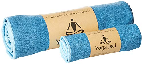 Yoga Mat Towel and Hand Towel as a Combo Set - Nonslip and Anti Slip - Mat Size Length - Lightweight - Perfect for Travel (Blue, 1 Mat Towel + 1 Hand Towel)