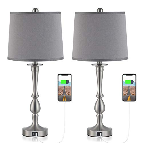 "USB Table Lamp Set of 2 Bedside Lamp with USB Port, Kakanuo Dark Grey Bedside Table Lamp 25.9"" Nickel Finish, Modern…"