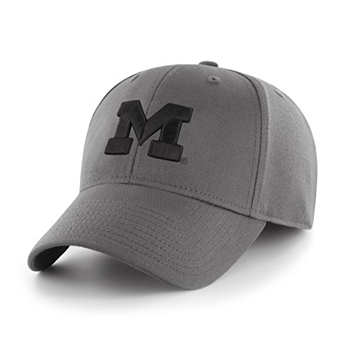 OTS NCAA Michigan Wolverines Comer Center Stretch Fit Hat, Charcoal, Large/X-Large (Michigan Wolverines Team Visor)