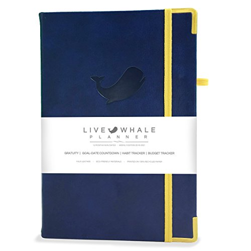 """Live Whale Planner - Weekly Edition 2017-2020 Calendar - 1 Year Non Dated Day Agenda Journal - Increase Productivity & Success - 8.3 x 5.5"""" Leather Bound Office Personal Organizer"""