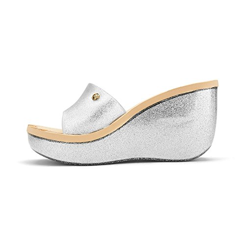 Women's on Silver Sandal Kay Chemistry Platform Jelly Slip Wedge 6zg5On